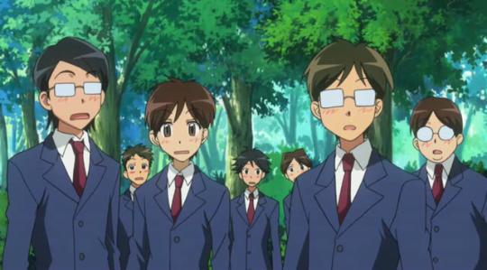 Was the male school uniform dark navy blue?