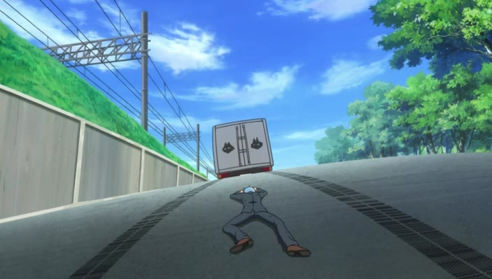 Due to Hayate's cockyness, he gets ran over by a passing truck. PWNED.
